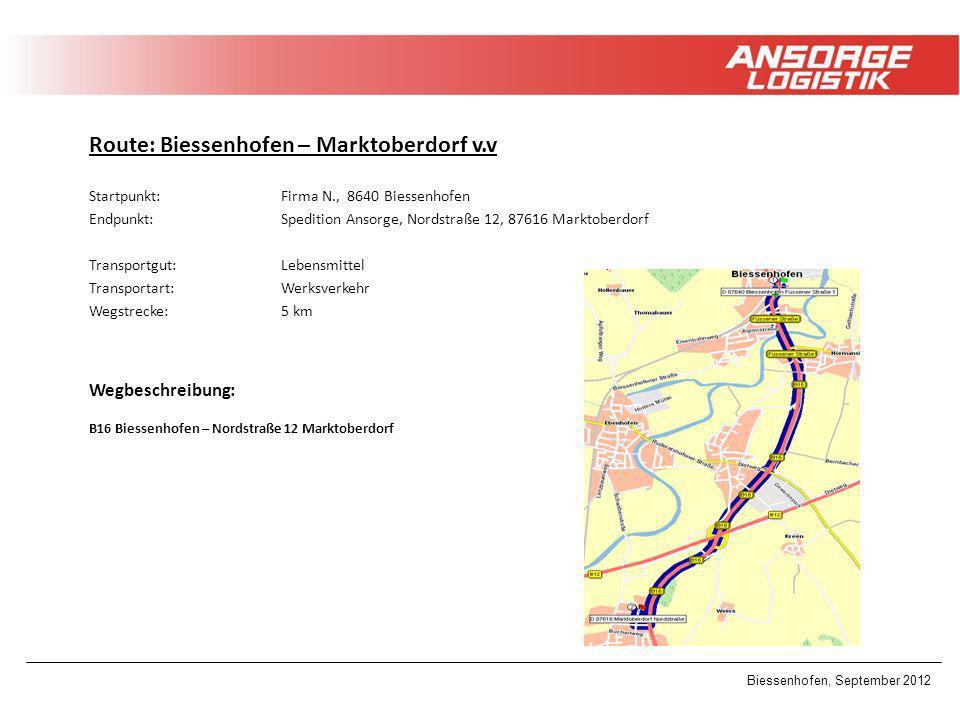 Route: Biessenhofen – Marktoberdorf v.v