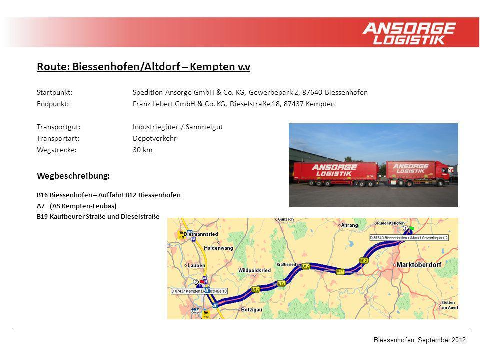 Route: Biessenhofen/Altdorf – Kempten v.v