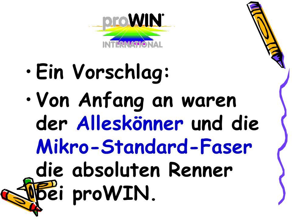 Ein Vorschlag:Von Anfang an waren der Alleskönner und die Mikro-Standard-Faser die absoluten Renner bei proWIN.