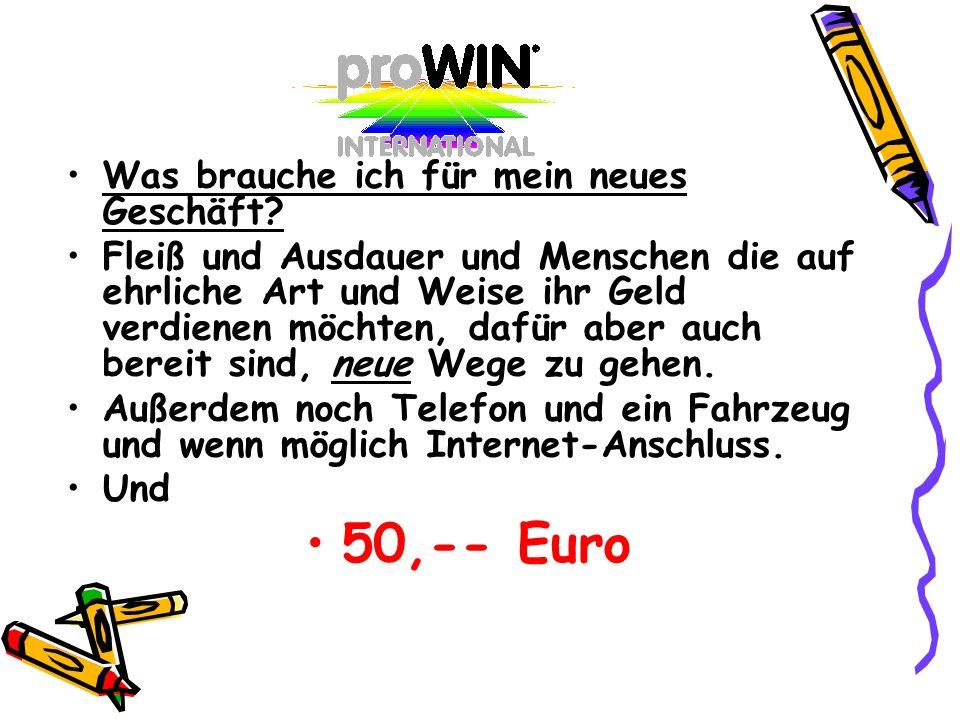 50,-- Euro Was brauche ich für mein neues Geschäft