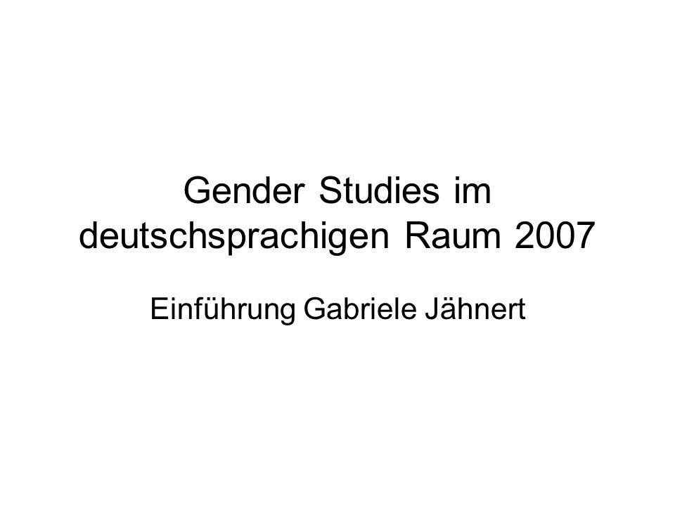 Gender Studies im deutschsprachigen Raum 2007