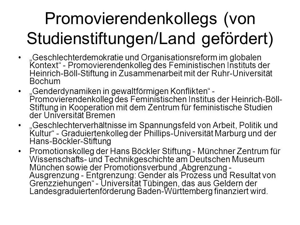 Promovierendenkollegs (von Studienstiftungen/Land gefördert)