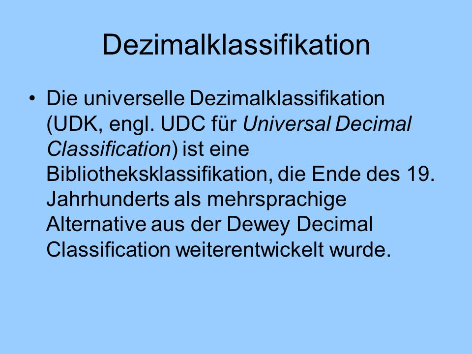 Dezimalklassifikation