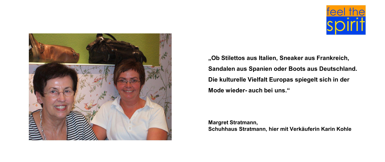 Schuhhaus Stratmann, hier mit Verkäuferin Karin Kohle