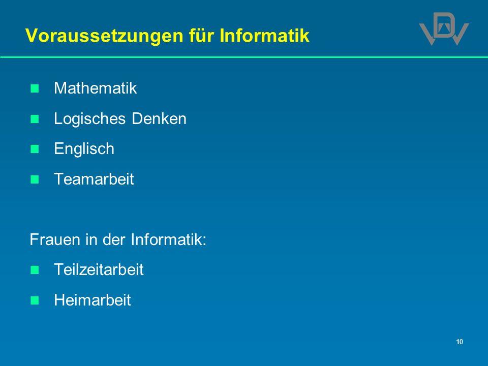 Voraussetzungen für Informatik