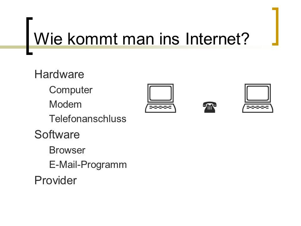 Wie kommt man ins Internet