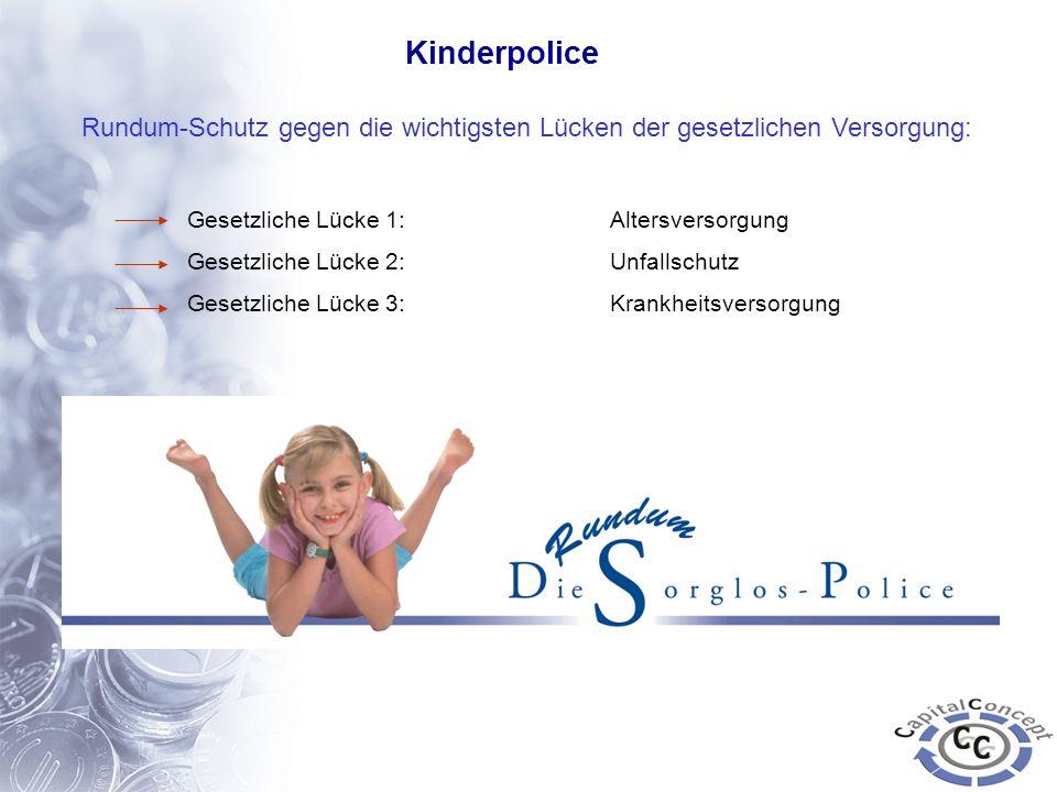 KinderpoliceRundum-Schutz gegen die wichtigsten Lücken der gesetzlichen Versorgung: Gesetzliche Lücke 1: Altersversorgung.