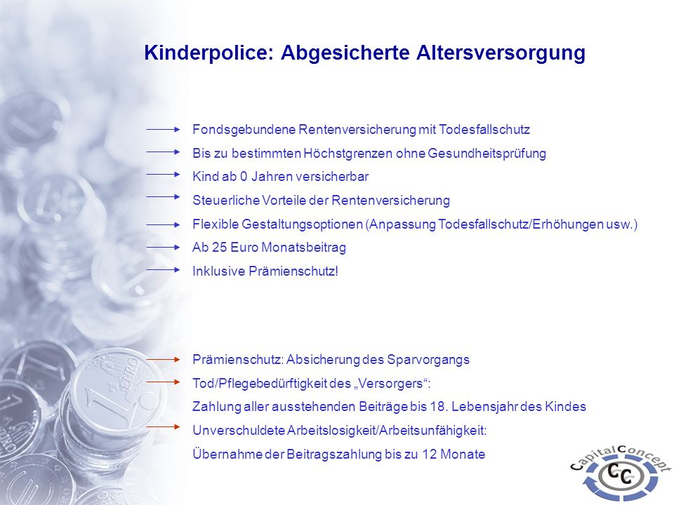 Kinderpolice: Abgesicherte Altersversorgung