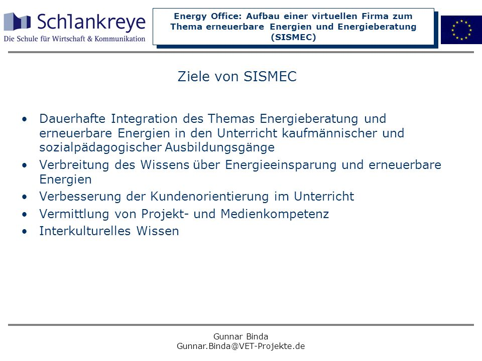 Ziele von SISMEC