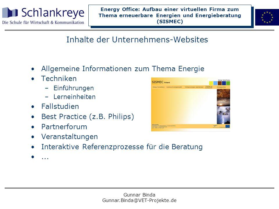 Inhalte der Unternehmens-Websites