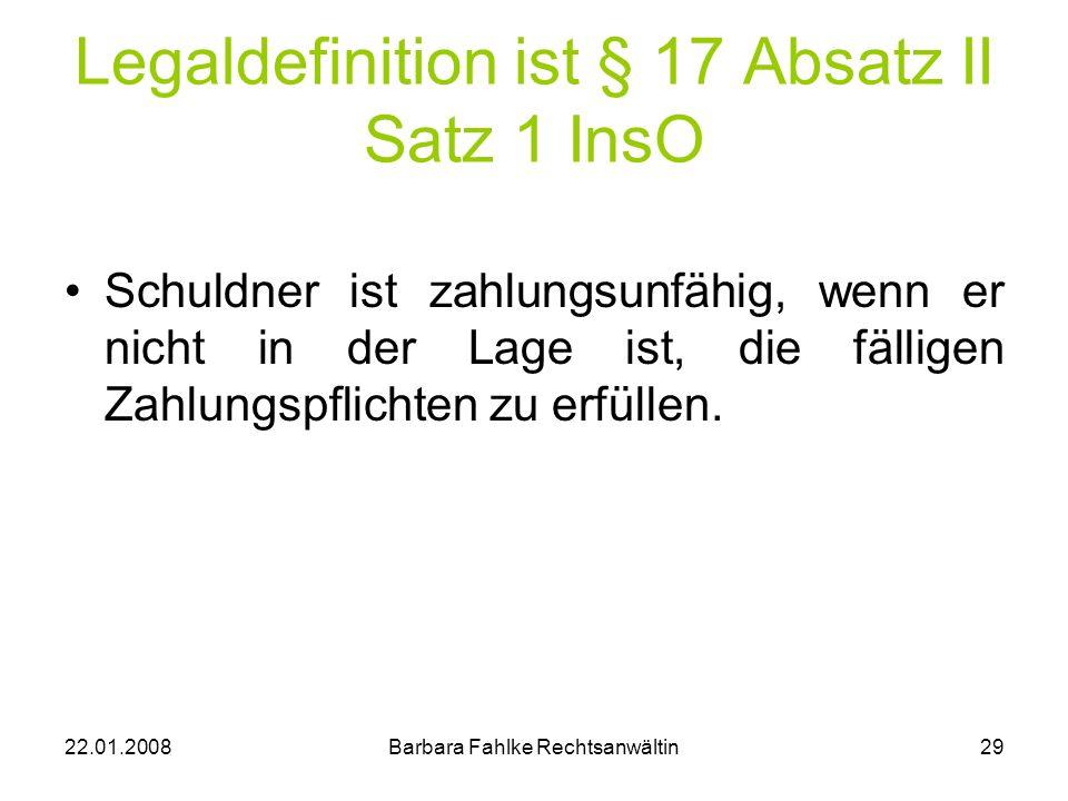 Legaldefinition ist § 17 Absatz II Satz 1 InsO