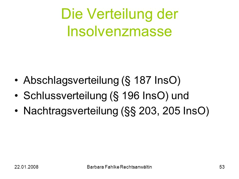 Die Verteilung der Insolvenzmasse