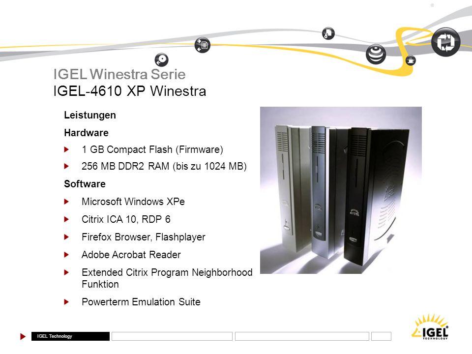 IGEL Winestra Serie IGEL-4610 XP Winestra Leistungen Hardware