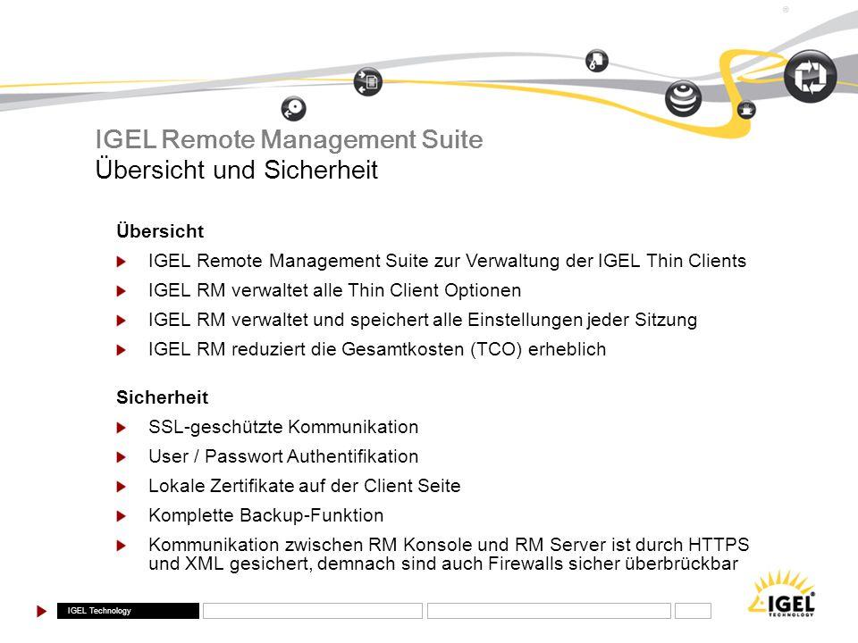 IGEL Remote Management Suite Übersicht und Sicherheit