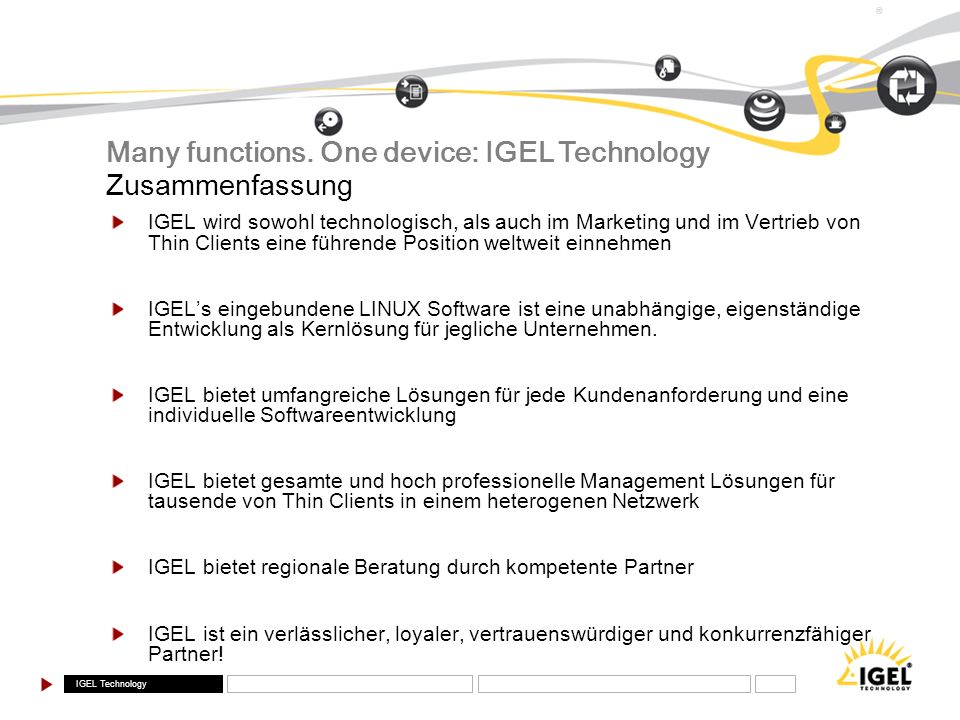 Many functions. One device: IGEL Technology Zusammenfassung