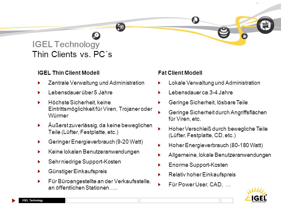 IGEL Technology Thin Clients vs. PC´s IGEL Thin Client Modell
