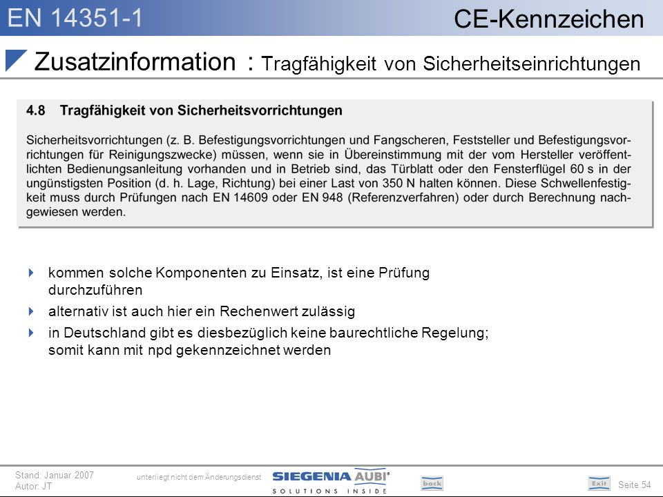 Zusatzinformation : Tragfähigkeit von Sicherheitseinrichtungen