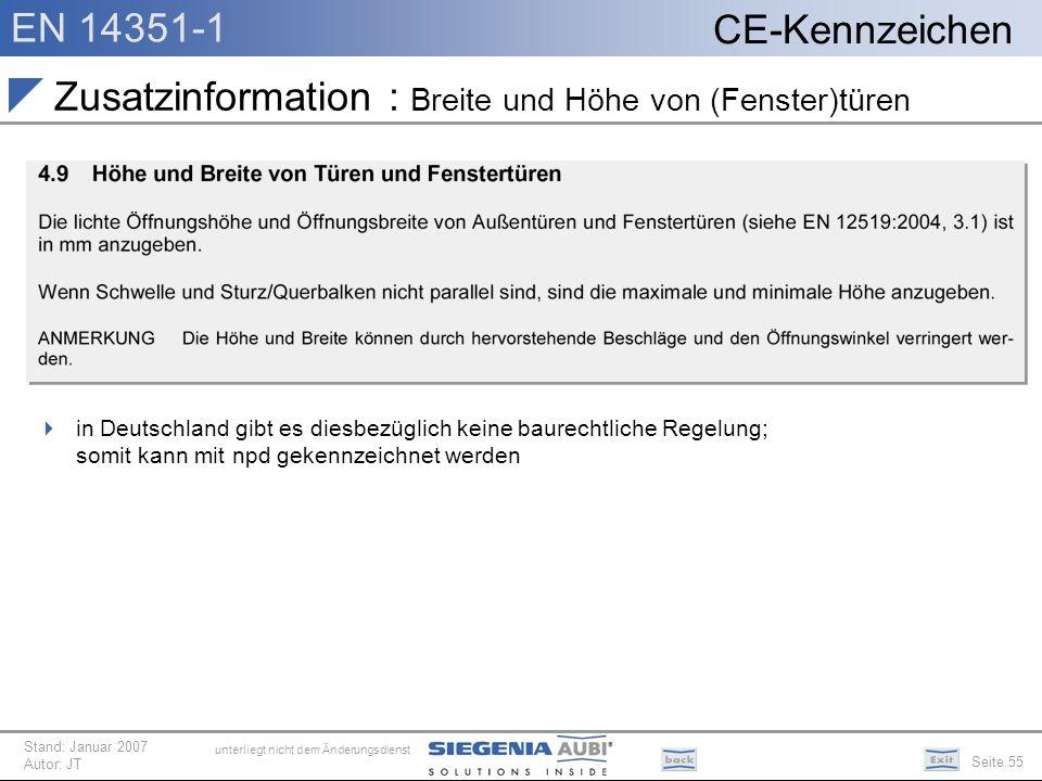 Zusatzinformation : Breite und Höhe von (Fenster)türen
