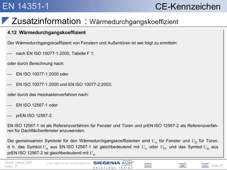 Zusatzinformation : Wärmedurchgangskoeffizient