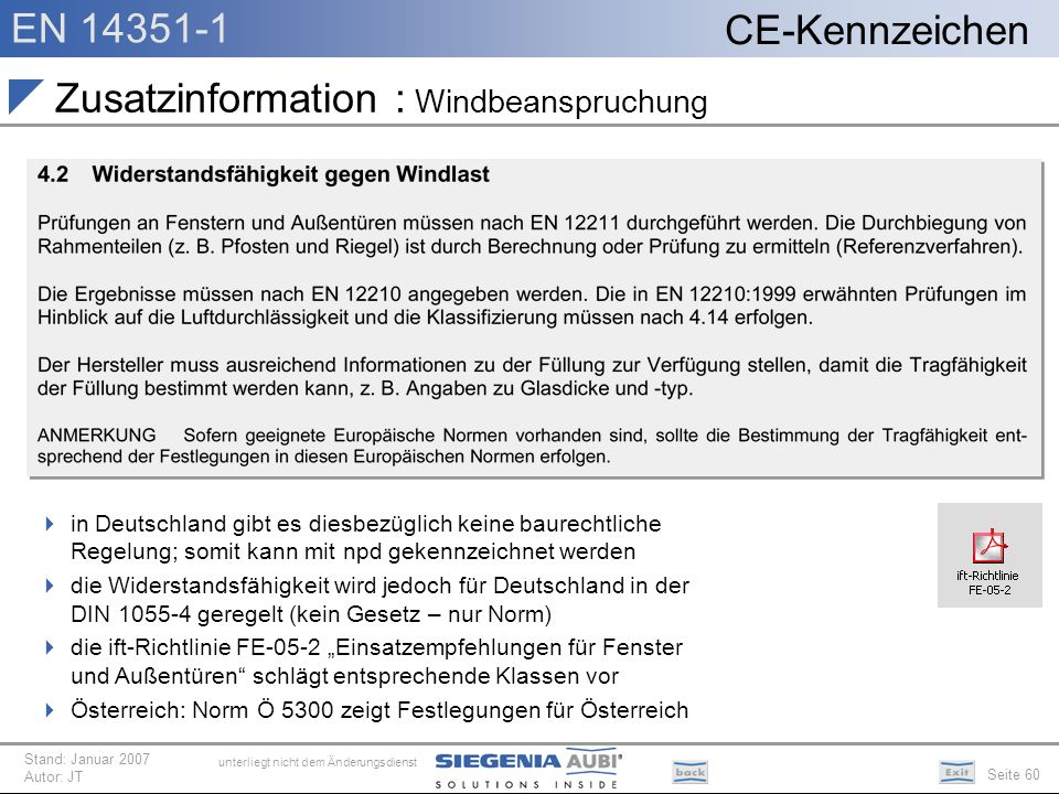 Zusatzinformation : Windbeanspruchung