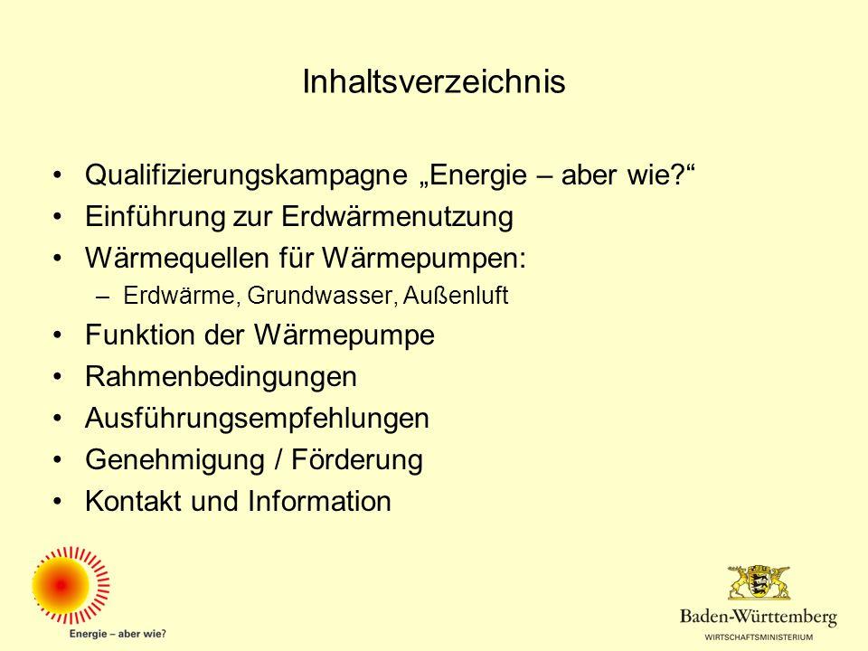 """Inhaltsverzeichnis Qualifizierungskampagne """"Energie – aber wie"""