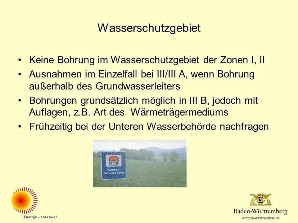 Wasserschutzgebiet Keine Bohrung im Wasserschutzgebiet der Zonen I, II