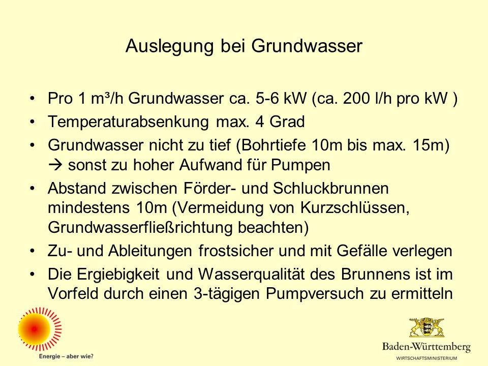 Auslegung bei Grundwasser