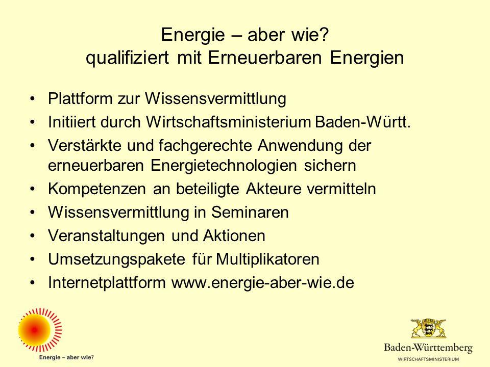 Energie – aber wie qualifiziert mit Erneuerbaren Energien