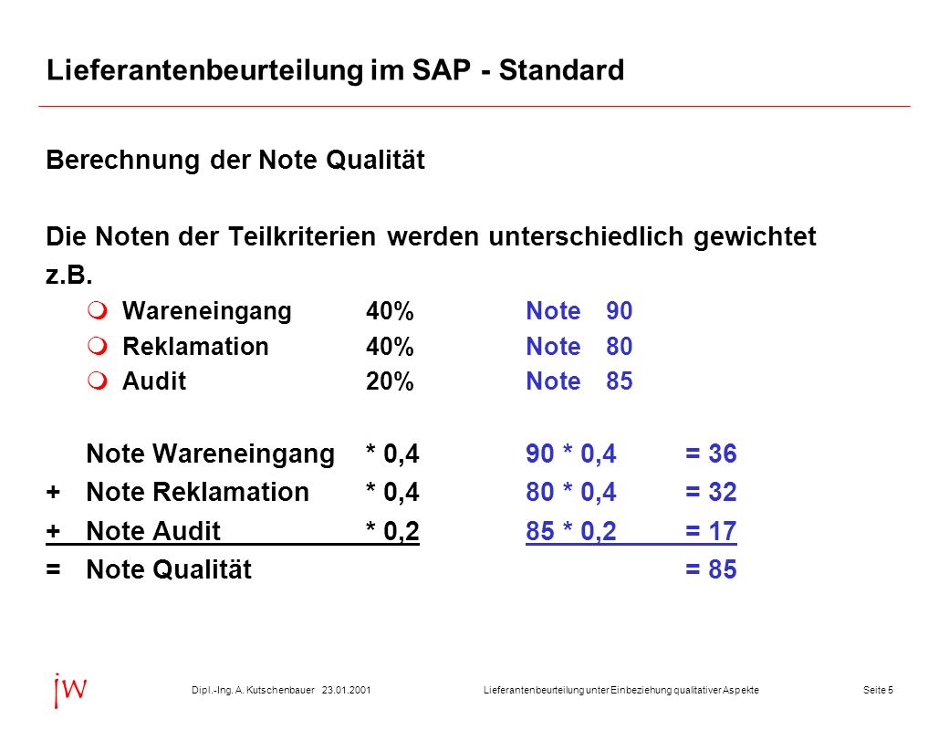Lieferantenbeurteilung im SAP - Standard