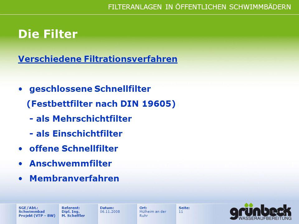 Die Filter Verschiedene Filtrationsverfahren