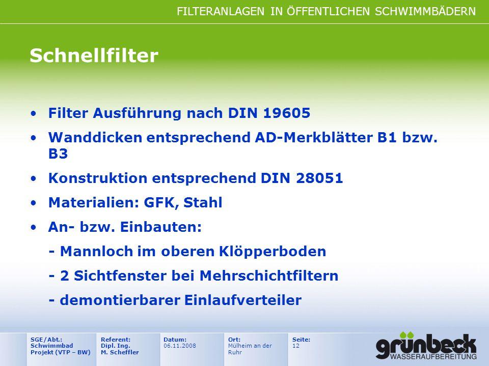 Schnellfilter Filter Ausführung nach DIN 19605