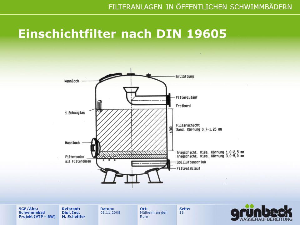 Einschichtfilter nach DIN 19605