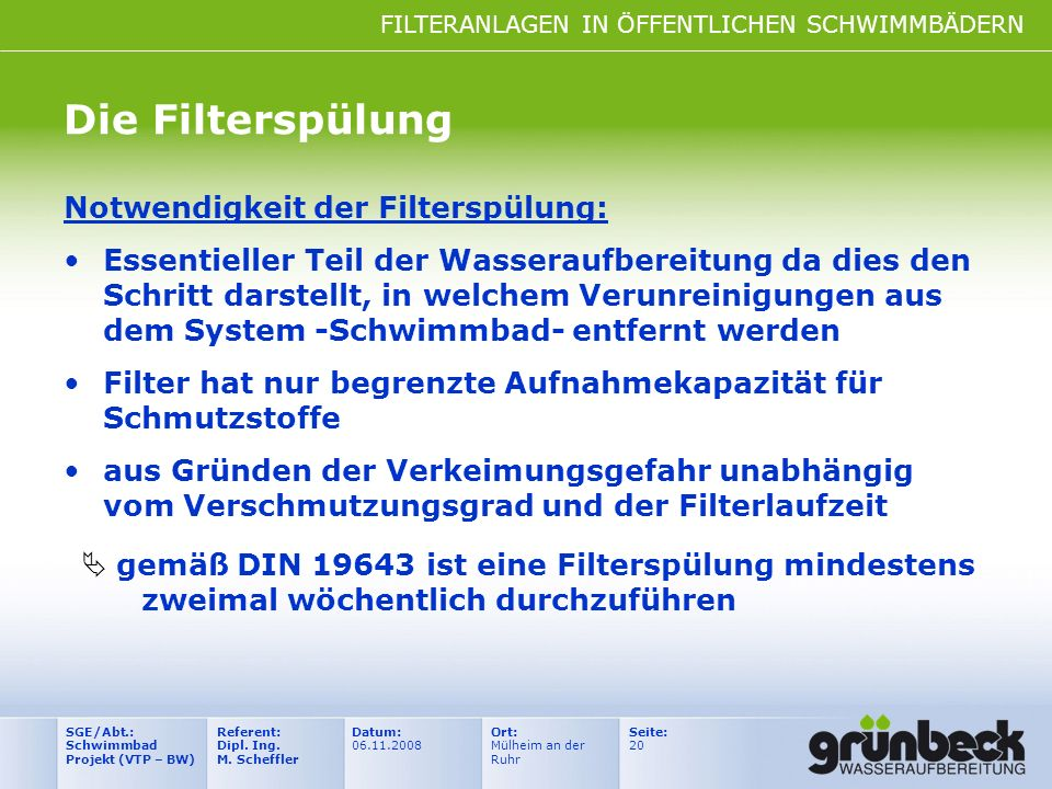 Die Filterspülung Notwendigkeit der Filterspülung: