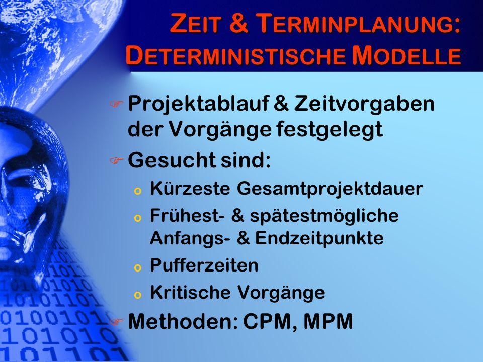 Zeit & Terminplanung: Deterministische Modelle