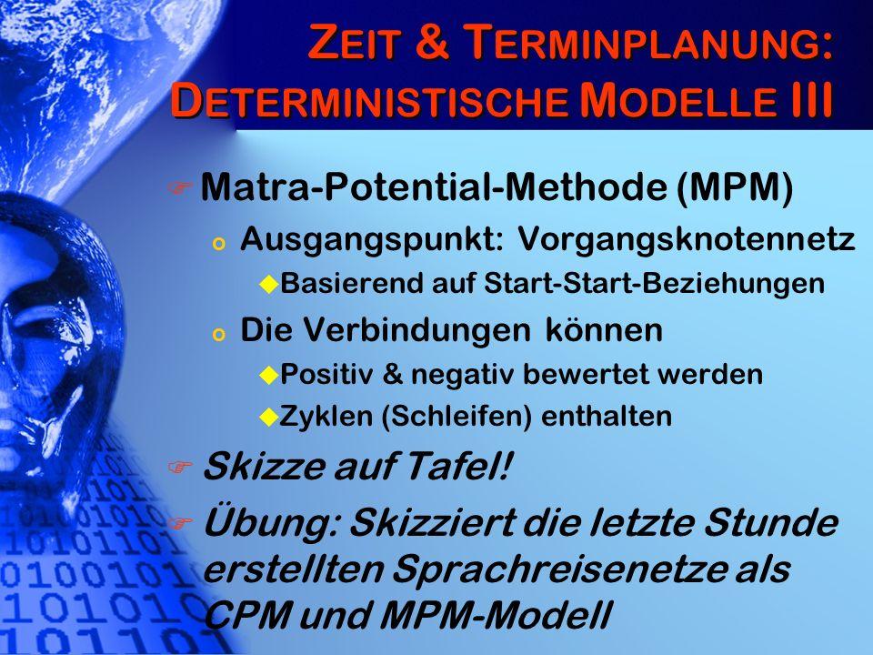Zeit & Terminplanung: Deterministische Modelle III