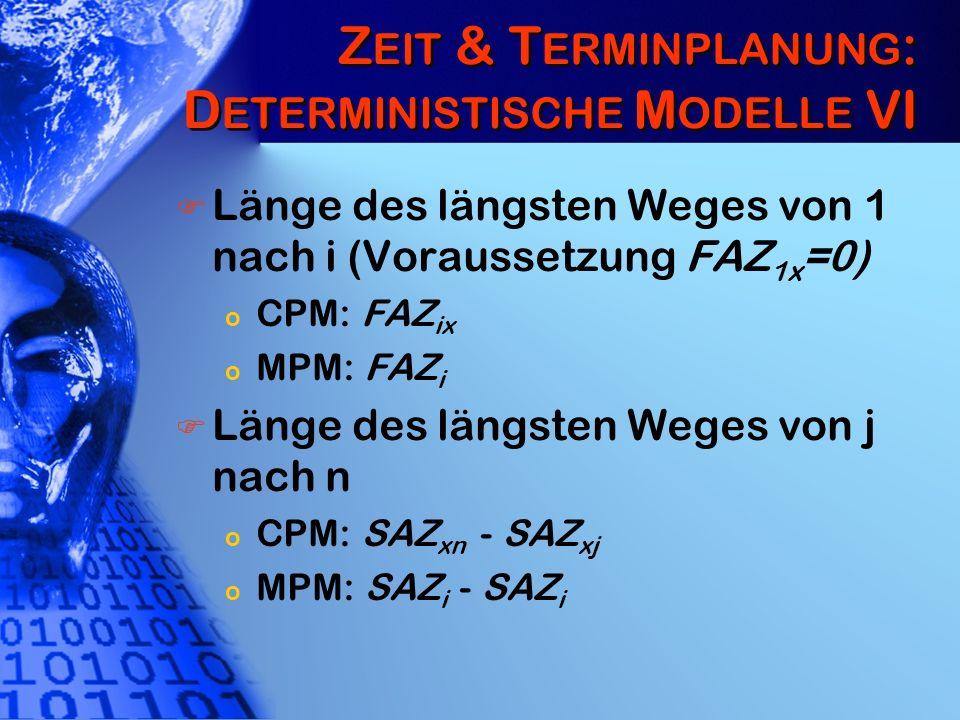 Zeit & Terminplanung: Deterministische Modelle VI