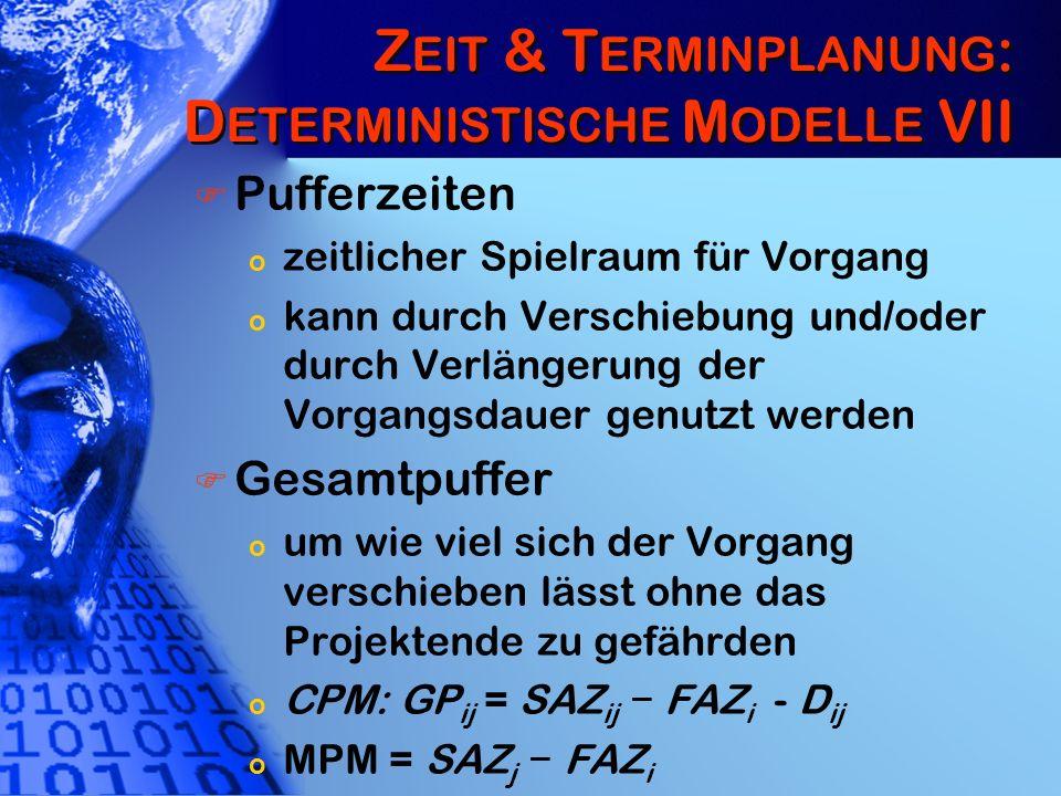 Zeit & Terminplanung: Deterministische Modelle VII