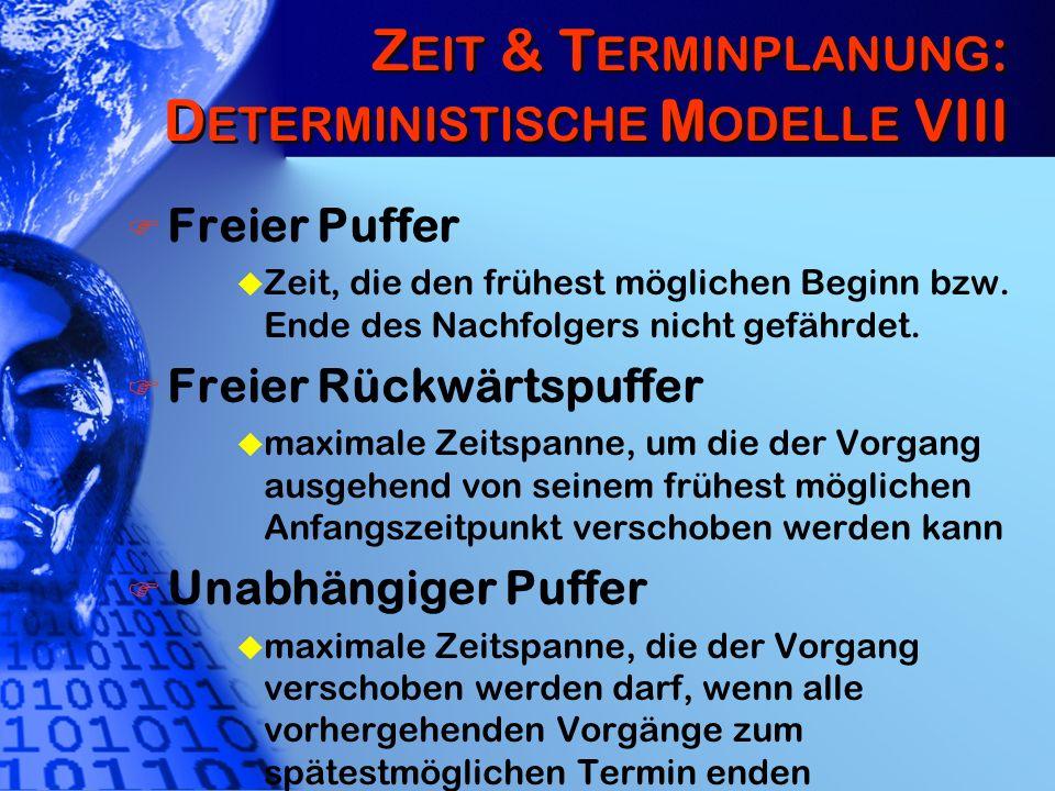 Zeit & Terminplanung: Deterministische Modelle VIII