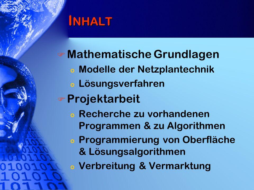 Inhalt Mathematische Grundlagen Projektarbeit