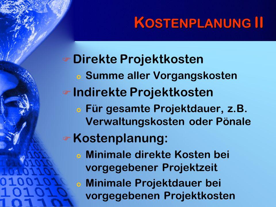 Kostenplanung II Direkte Projektkosten Indirekte Projektkosten