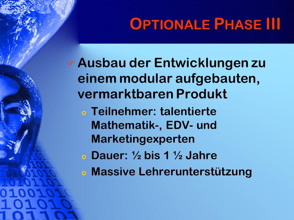 Optionale Phase III Ausbau der Entwicklungen zu einem modular aufgebauten, vermarktbaren Produkt.
