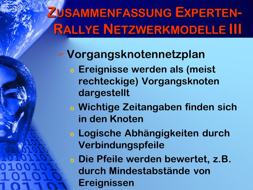 Zusammenfassung Experten-Rallye Netzwerkmodelle III