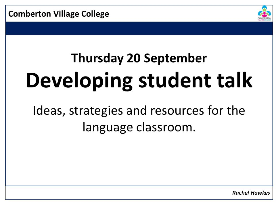 Developing student talk