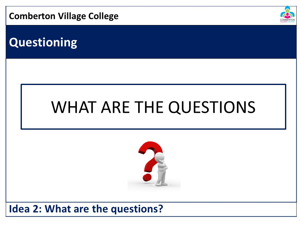 WHAT ARE THE QUESTIONS Questioning Idea 2: What are the questions