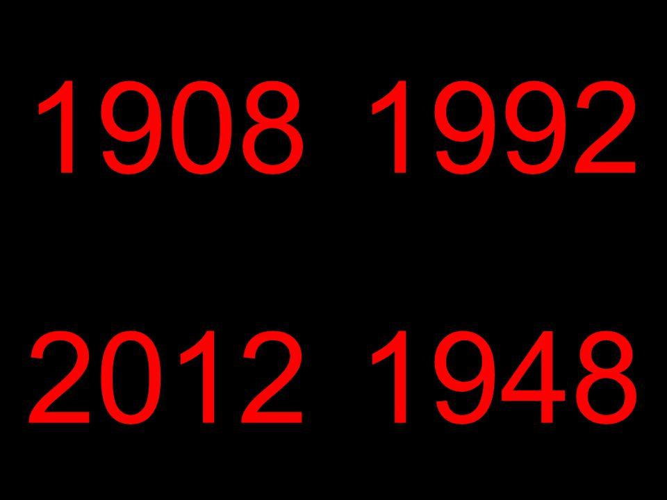 1908 1992. 2012. 1948.
