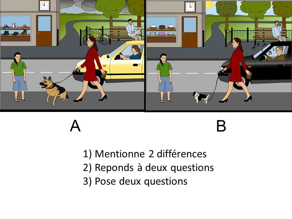 A B. 1) Mentionne 2 différences 2) Reponds à deux questions 3) Pose deux questions.
