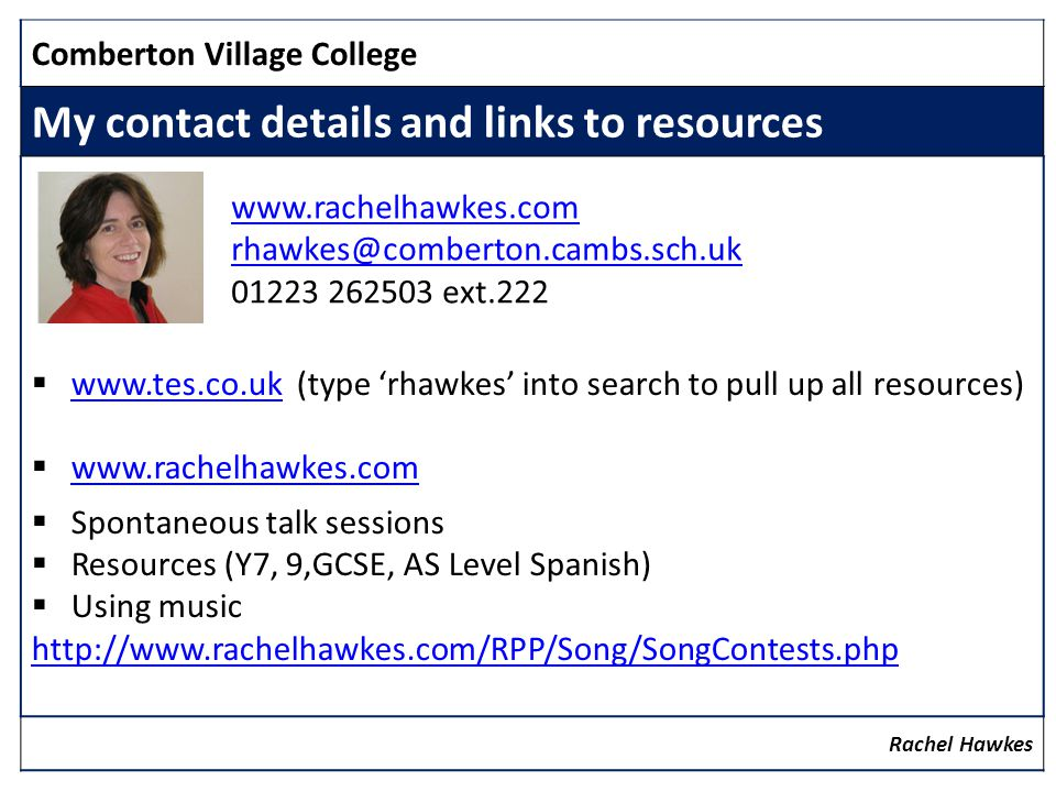My contact details and links to resources