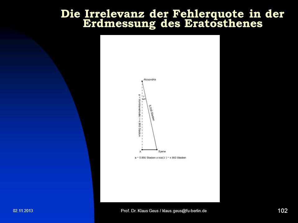 Die Irrelevanz der Fehlerquote in der Erdmessung des Eratosthenes