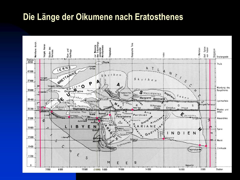 Die Länge der Oikumene nach Eratosthenes