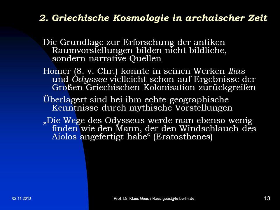 2. Griechische Kosmologie in archaischer Zeit